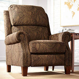 Beaumont Warm Brown Paisley Push-Thru Arm 3-Way Recliner - Kensington Hill