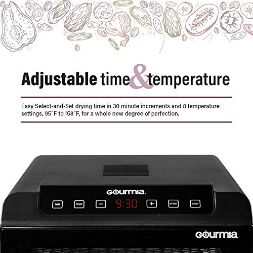 Gourmia GFD1680 Premium Countertop Food Dehydrator 6 Drying Shelves Digital Thermostat Preset Temperature Settings Airflow Circulation Countdown Timer Free Recipe Book Included 110V