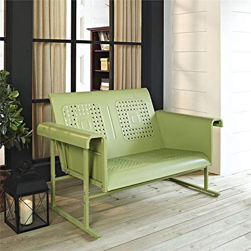 Crosley Furniture Veranda Patio Gliding Loveseat in Oasis Green