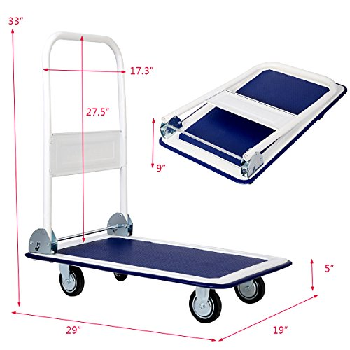 Giantex 10 Costway 10 330lbs Platform Cart Dolly Folding Foldable Moving Warehouse Push Hand Truck, 330lbs Weight Capacity, Blue