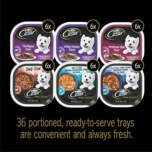 CESAR Soft Wet Dog Food HOME DELIGHTS & Classic Loaf in Sauce Variety Pack, (36) 3.5 oz. Easy Peel Trays
