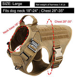 "ICEFANG Large Dog Tactical Harness,Military K9 Working Dog Molle Vest,No Pulling Front Clip,Metal Buckle Easy Put On Off (L (28""-35"" Girth), CB-Molle Half Body)"