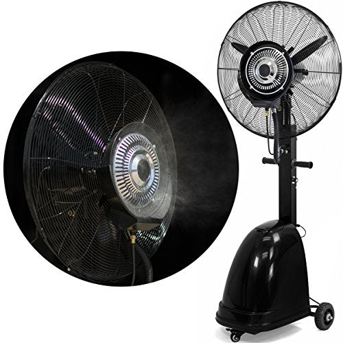 "Stark High Power Misting Fan Metal 26"" Oscillating Mist Fan Cooling Warehouse Indoor/Outdoor Adjustable Speed Water Tank w/Wheel"