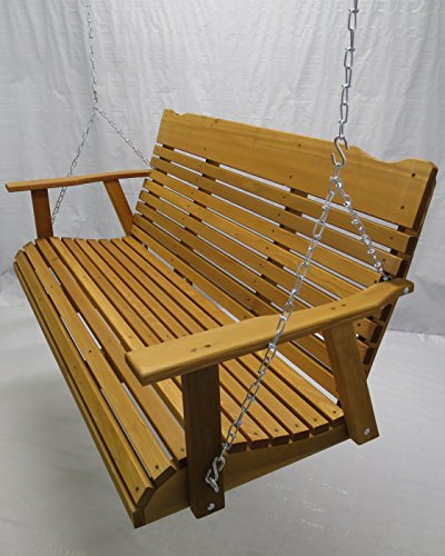 Kilmer Creek 5 Foot Cedar Porch Swing, Stained Finish, Amish Crafted, Includes Chain & Springs