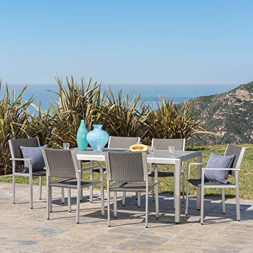 Christopher Knight Home Coral Bay Outdoor 7Pc Grey Aluminum Dining Set w/Glass Table Top