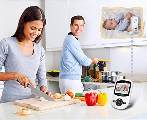 Video Baby Monitor with Digital Camera, ANMEATE Digital 2.4Ghz Wireless Video Monitor with Temperature Monitor, 960ft Transmission Range, 2-Way Talk, Night Vision, High Capacity Battery (sm24)