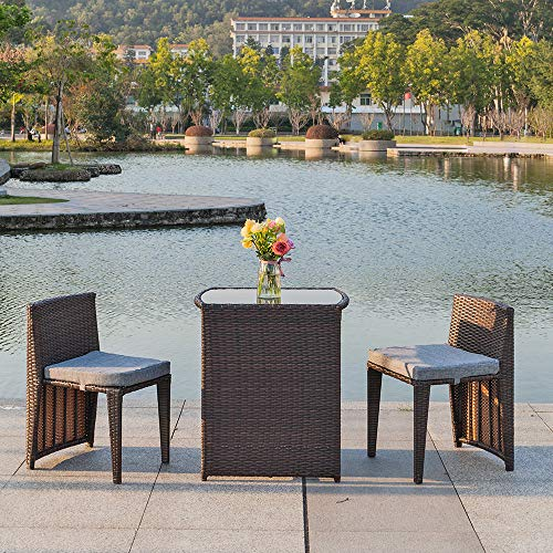Bonnlo 3 PCS Outdoor Wicker Patio Set, Rattan Bistro Set with Glass Top Table Cushioned Chairs, Patio Convention Set Dining Table Set for Garden Yard Porch, Space Saving Design