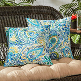 "Greendale Home Fashions 17"" Outdoor Accent Pillows in Painted Paisley (Set of 2), Baltic"