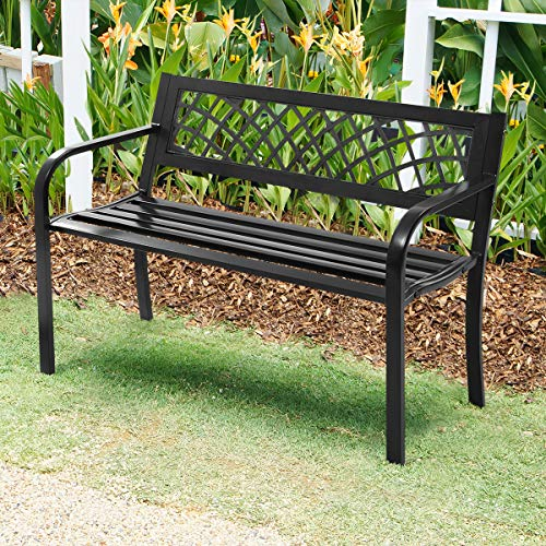 "Giantex 50"" Patio Garden Bench Loveseats Park Yard Furniture Decor Cast Iron Frame Black (Black Steel W/Metal Mesh Pattern)"