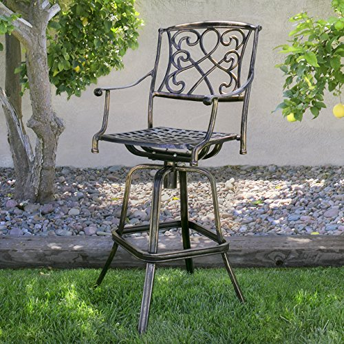 Best Choice Products Outdoor Cast Aluminum Swivel Bar stool Patio Furniture Antique Copper Design