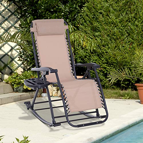 Outsunny Folding Zero Gravity Rocking Lounge Chair with Cup Holder Tray - Beige