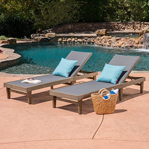 Great Deal Furniture 304496 Shiny Outdoor Wood Chaise Lounge (Set of 2), Dark Mesh and Grey, Finish