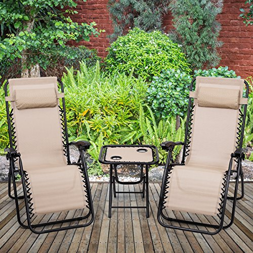 Giantex 3 PCS Zero Gravity Chair Patio Chaise Lounge Chairs Outdoor Yard Pool Recliner Folding Lounge Table Chair Set Backyard Lounge Chairs (Beige)