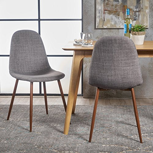 Christopher Knight Home 301730 Raina Dining Chairs, Light Grey + Dark Brown