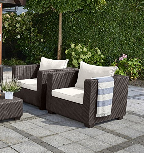 Keter Salta All Weather Outdoor Patio Armchair with Sunbrella Cushions in a Resin Plastic Wicker Pattern, Rich Brown