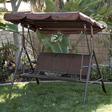 Belleze Porch Swing Glider Outdoor Chair Top Tilt UV Resistant Shade Steel Frame 3 Seater Adjustable Sunshade Dark Brown