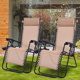 Goplus 2PC Zero Gravity Chairs Lounge Patio Folding Recliner Outdoor Yard Beach with Cup Holder