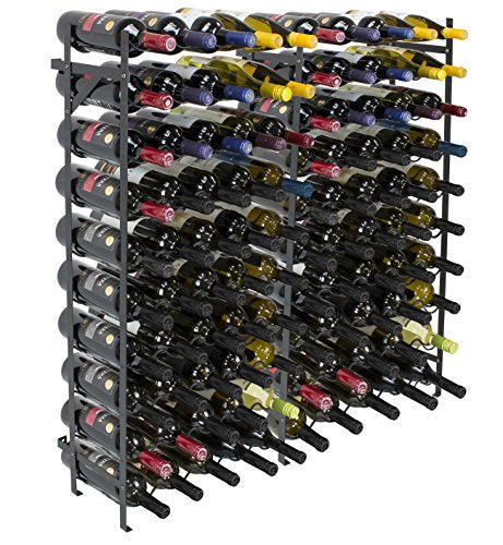 "Sorbus Display Rack Large Capacity Wobble-Free Shelves Storage Stand for Bar, Basement, Wine Cellar, Kitchen, Dining Room, etc (Black), Height 40"" - 100 Bottle"