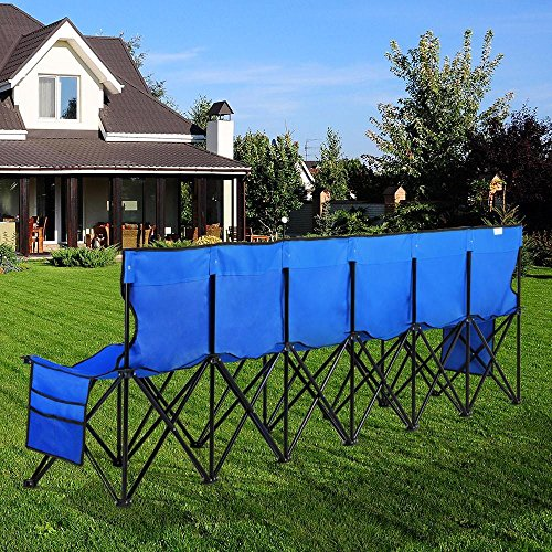 Yaheetech Lightweight Portable Folding Bench Folding Chair Camping Chair Outdoor Team Sport Bench 6 Seater Blue bleacher Chair Sideline Seats with Back & Sidebags & a Carry Bag
