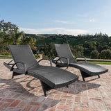Soleil Outdoor Grey Wicker Arm Chaise Lounges (Set of 2)