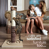4 Paws Stuff Tall Cat Scratching Post Cat Interactive Toys - Cat Scratch Post Cats Kittens - Plush Sisal Scratch Pole Cat Scratcher - 22 inches (Beige)