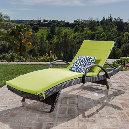 Christopher Knight Home 296783 Salem Outdoor Wicker Chaise Lounge Chair with Arms with Cushion, Brown with Green