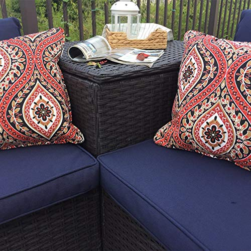 PHI VILLA Outdoor Patio Furniture Set- Outdoor Sofa (4-Piece, Blue)