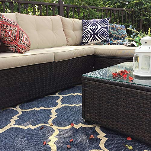 PHI VILLA Outdoor Rattan Sectional Sofa- Patio Wicker Furniture Set (3-Piece, Beige)
