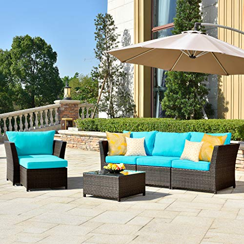 ovios Patio Furniture Set, Backyard Sofa Outdoor Furniture 6 Pcs Sets,PE Rattan Wicker sectional with 2 Pillows and Patio Furniture Cover, No Assembly Required,Brown (6 Piece, Blue)