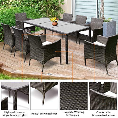 Tangkula 9PCS Patio Wicker Furniture Set Outdoor Garden Modern Wicker Rattan Dining Table Chairs Conversation Set with Cushions, Brown (9 PCS)
