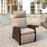 Grand Patio Indoor & Outdoor Recliner with All-Weather Wicker, Beige Cushion and Integrated Side, Mocha Brown