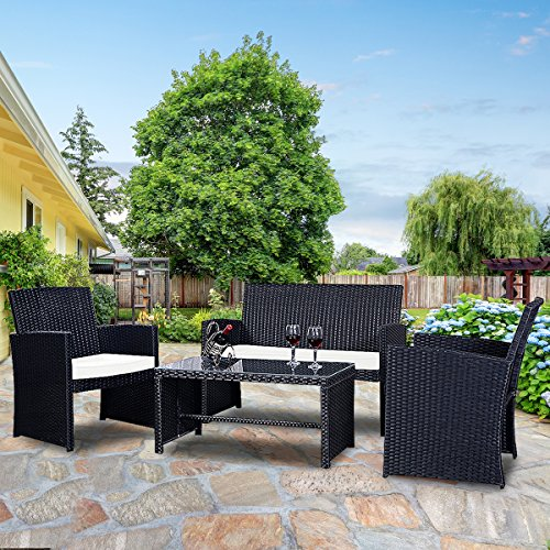 Goplus 4-Piece Rattan Patio Furniture Set Garden Lawn Pool Backyard Outdoor Sofa Wicker Conversation Set with Weather Resistant Cushions and Tempered Glass Tabletop (Mix Black)