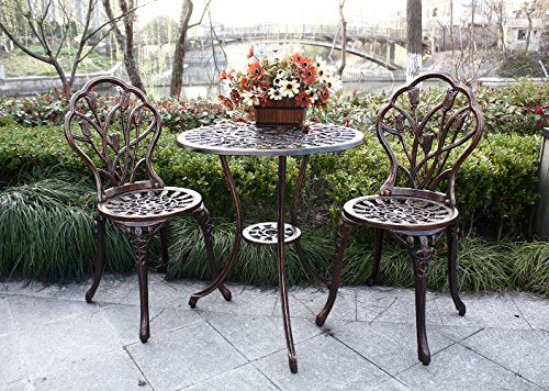 HOMEFUN Bistro Table Set, Outdoor Patio Set 3 Piece Table and Chairs, Tulip Carving and Weather Resistant (Antique Bronze)
