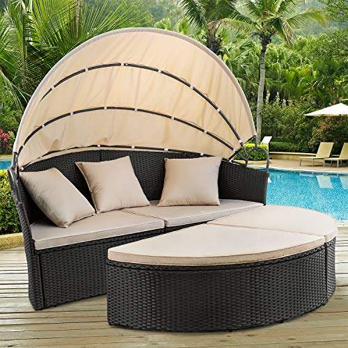 Devoko Outdoor Patio Round Daybed 4 Pieces Wicker Rattan Furniture Sets All-Weather Seating Sofa Lawn Garden Backyard Daybed with Retractable Canopy (Black)