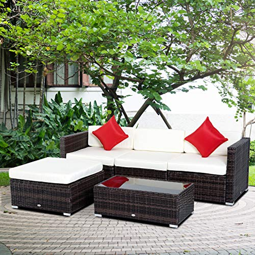 Outsunny 5-Piece Deluxe Outdoor Patio PE Rattan Wicker Sofa Chaise Lounge Furniture Set