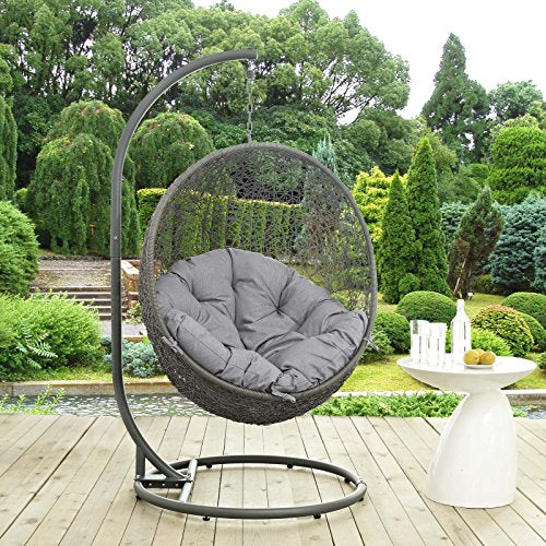 Modway EEI-2273-GRY-GRY Hide Wicker Rattan Outdoor Patio Balcony Porch Lounge Egg Swing Chair Set with Stand Gray