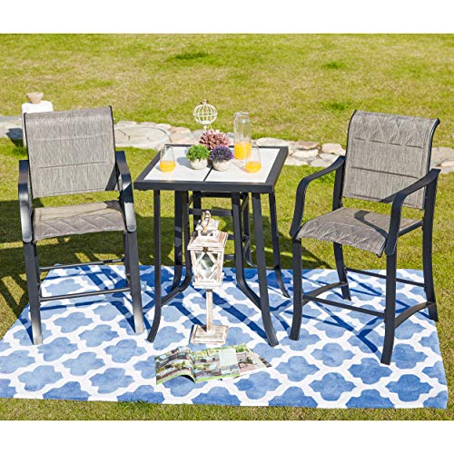LOKATSE HOME Bar Stools and Table Height Bistro Set Outdoor Furniture, Gray