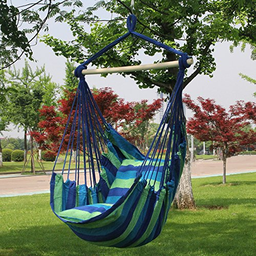 Sorbus Hanging Rope Hammock Chair Swing Seat for Any Indoor or Outdoor Spaces- Max. 265 Lbs -2 Seat Cushions Included