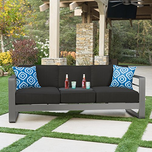 Christopher Knight Home Crested Bay Patio Furniture | Outdoor Grey Aluminum Sofa Couch with Dark Grey Water Resistant Cushions