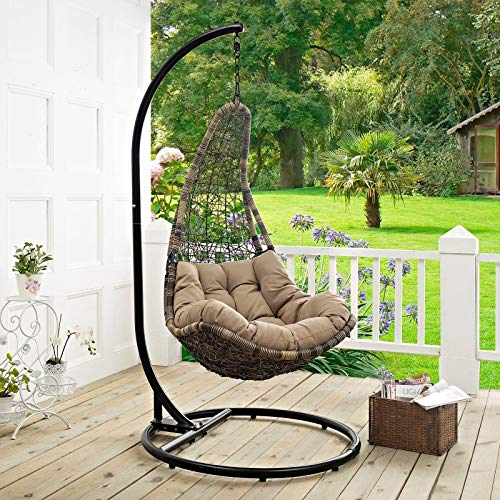 Modway EEI-2276-BLK-MOC-SET Abate Wicker Rattan Outdoor Patio Balcony Porch Lounge Swing Chair Set with Stand Black Mocha