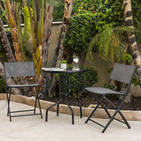 Best Choice Products 3-Piece Patio Bistro Dining Furniture Set w/Round Textured Glass Table Top, 2 Foldable Chairs- Gray