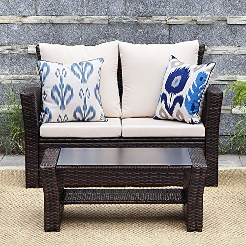 Wisteria Lane Outdoor Patio Furniture Set,5 Piece Conversation Set Wicker Sectional Sofa Couch Rattan Chair Table,Brown