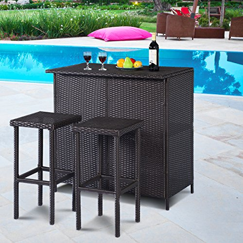 Tangkula 3 Piece Patio Bar Set Rattan Wicker Bar Stools & Table for Lawn Pool Backyard Garden Dining Set with 2 Storage Shelves Indoor Outdoor Moder Wicker Bar Furniture