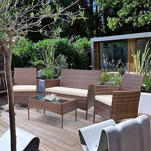 Homall 4 Pieces Outdoor Patio Furniture Sets Rattan Chair Wicker Set,Outdoor Indoor Use Backyard Porch Garden Poolside Balcony Furniture (Medium)