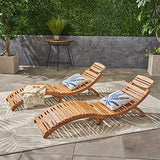 Great Deal Furniture 296060 (Set of 2) Lisbon Outdoor Folding Chaise Lounge Chair, Natural Yellow