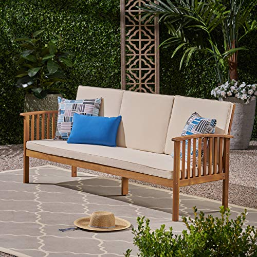 Great Deal Furniture 307791 Breenda Outdoor Acacia Wood Sofa with Cushions, Teak and Cream, Finish
