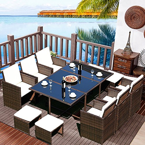 Tangkula Patio Dining Set 11 PCS Outdoor Garden Poolside Balcony Rattan Wicker Metal Frame Space Saving Cushioned Sets W/Cover Conversation Set (11 PCS)