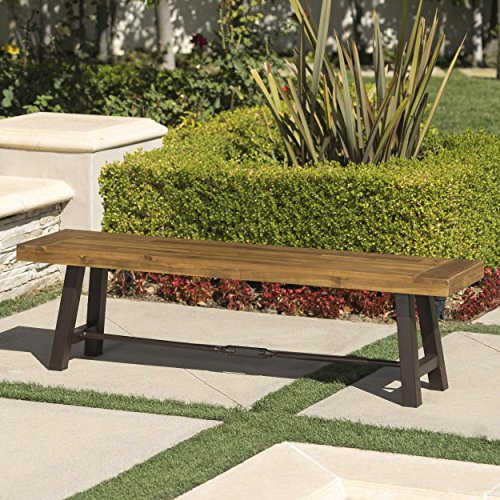 Cana Outdoor Teak Finished Acacia Wood Bench with Rustic Metal Accents