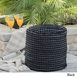 Great Deal Furniture Collier Outdoor Pouf | Black Fabric | Round | Footrest for Patio Set