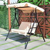 Tangkula 2 Person Canopy Swing Weather Resistant Glider Hammock Porch Garden Backyard Lawn Cushioned Steel Frame Loveseat Swing Chair Bench Seat Patio Furniture(Beige)